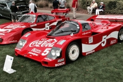 A pair of Bob Akin's Porsche racecars: 962 (foreground) and 935, both driven by Amelia Island honoree Hans Stuck.