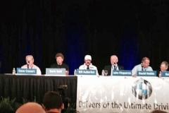 Moderator Bill Warner and the BMW motorsports panel (l-r): Dave Cowart, Boris Said, Bill Auberlen, John Fitzpatrick, David Hobbs, Sam Posey, Brian Redman and Hans Stuck.