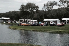 A collection of Trans-Am cars by the pond, known locally for its fatal attraction for golf balls.