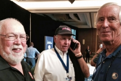 Bob Leitzinger enjoys chat with Carl Jensen (right) while Tom Malloy (center) is getting the word that his Cobra won Best in Class at the Concours.