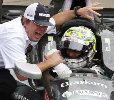 A pair of Victory Lane newcomers - car owner Jimmy Vasser and his driver Tony Kanaan [motorsport.com image]