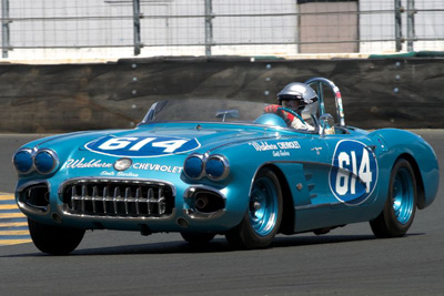 Host Steve Earle ran a pair of No. 614 Vettes - this one a pristine '59 model. [Sports Car Digest image by Dennis Gray]