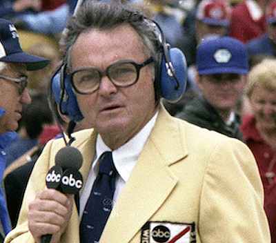 Economaki came to national attention as the pit reporter for ABC's Wide World of Sports early coverage of racing. [ABC image]