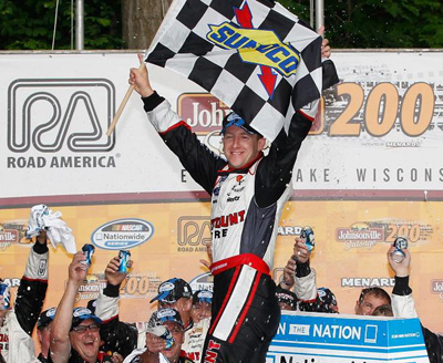 RRDC member A.J. Allmendinger celebrates his first ever NASCAR victory, a Nationawide Series win at Elkhart Lake.