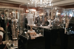 Iconic race trophies from around the world were on display in the Ritz-Carlton lobby, the most recognizable in this photo being the Indianapolis 500 trophy on the left.