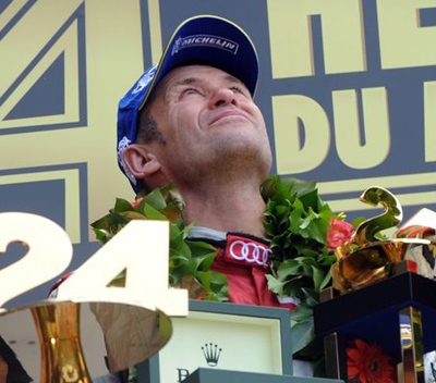 Tom Kristensen's podium celebration was muted.