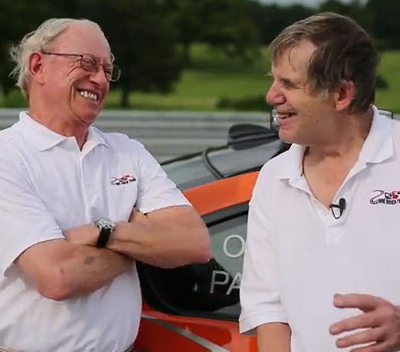 Skip Barber (l) and Sam Posey enjoying a beautiful day at Lime Rock [racer.com screen grab]