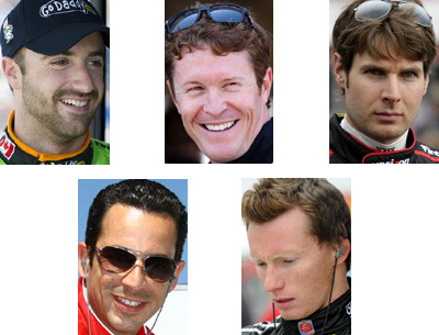 Clockwise from the top left: James Hinchcliffe, Scott Dixon, Will Power, Mike Conway and Helio Castroneves.