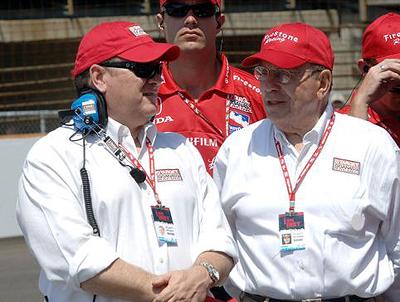 Chip Ganassi (l) and his dad Floyd Ganassi, Sr.