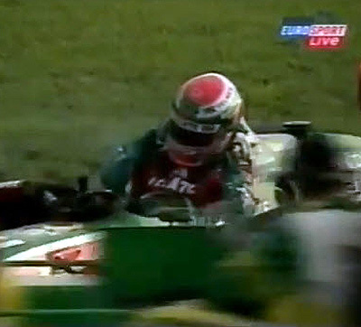 Adrian Fernandez suffered a concussion in this crash, but didn't know it for about a half hour. [SIF screen grab]