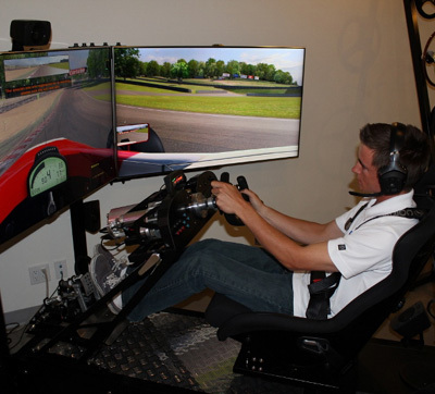 Joey Bickers in the midst of an intense track learning exercise at CXC Simulations in LA. [Team USA Scholarship image]