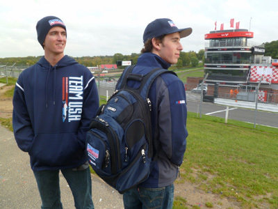 Joey Bickers (l) and Jake Eidson show off the brand new Team USA Scholarship gear now available from Styled Aesthetic. [Jack Mitchell / JAM Photography image]