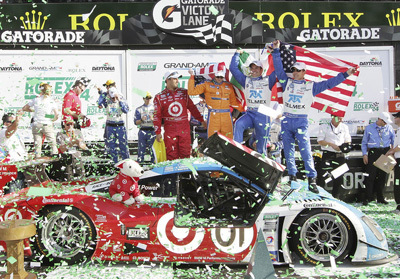 ... and if you do win, you've got to clamber up onto your racecar in Victory Lane.