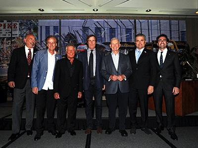Mario with Indy 500 winners, from left: Bobby Rahal, Arie Luyendyk, Andretti, Danny Sullivan, Parnelli Jones, Gil de Ferran and Dario Franchitti. [Dennis Ashlock image]