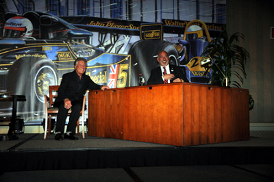 "Andretti and Rahal a la ""Late Show with David Letterman"". [Dennis Ashlock image / Randy Owens backdrop]"