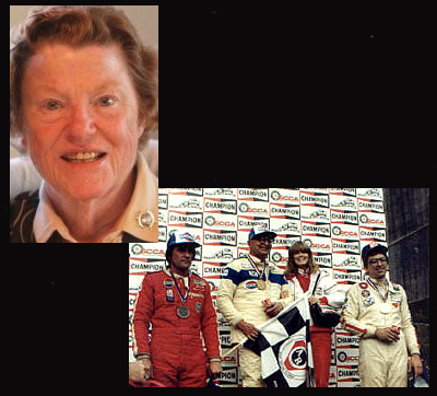 A bright-eyed Lucie Cunningham-McKinney (upper left), and Col. Joe Hauser gold medal center stage at 1982 Runoffs with Richard Davis (left, silver) and Col. Joe's good friend Roberto Lorenzutti (right, bronze).