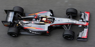 Chandhok in the HRT at Barcelona in 2010.