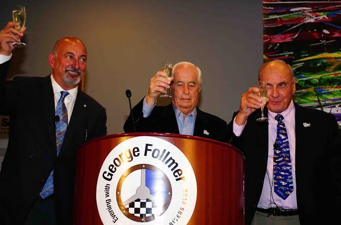 A toast to the evening - RRDC president Bobby Rahal, celebrating his 50th year in motorsports Roger Penske, and the Evening's honoree George Follmer. [Albert Wong image]