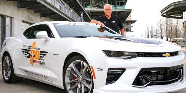 Roger Penske with the 50th Anniversary Edition 2017 Camaro he'll drive to pace the 100th running of the Indianapolis 500. [Chevrolet image]