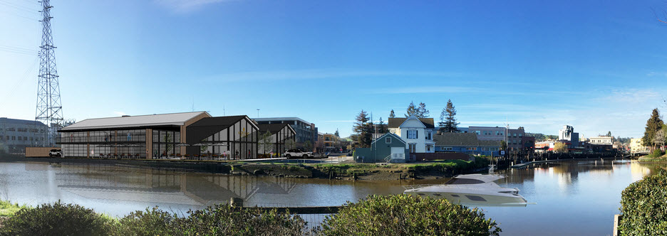 Artist's concept of new Adobe Road Winery on the river in Petaluma. [Adobe Road Winery image]