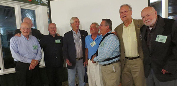 Friends for life (l to r): Bill Wuesthoff, Don Devine (behind Wuesthoff), Peter Cunningham, Carl Jenkins, Augie Pabst, Jim Dentici, George Bruggenthies and Harry Heuer. [Bob Birmingham image]