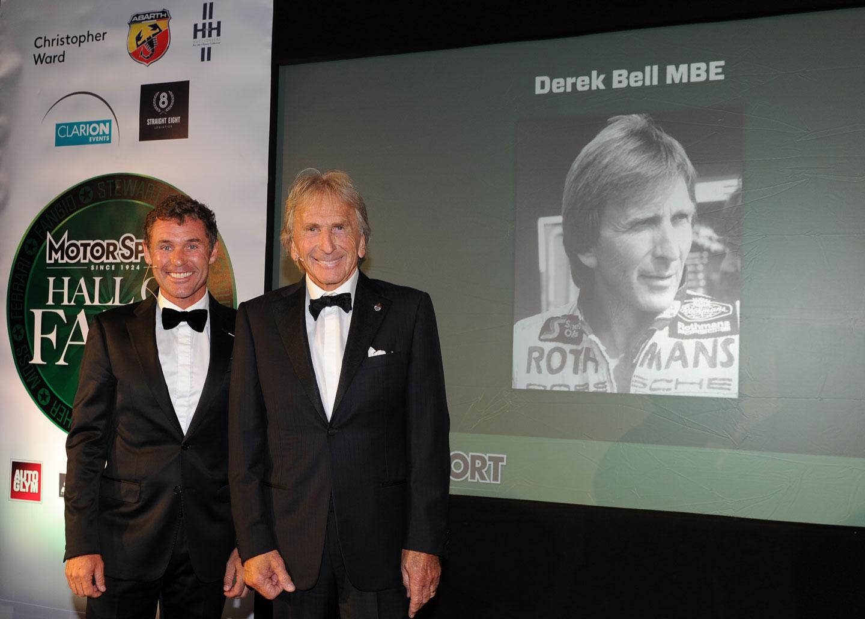 Tom Kristensen (l) inducts Derek Bell into the Motor Sport Hall of Fame [Motor Sport Image]