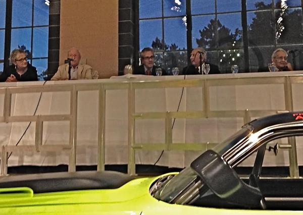 Panel was (l to r) Judy Stropus, Skip Barber, Luigi Chinetti, Archie Urciuoli and artist Frank Stella. [Don Breslauer image]