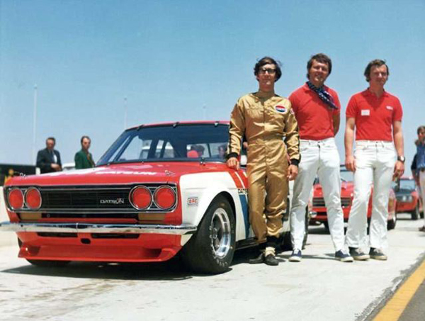BRE Datsun 510 in its Trans-Am heyday: (l-r) John Morton, Peter Brock and Mike Downs who drove BRE's second entry. [BRE archive image]