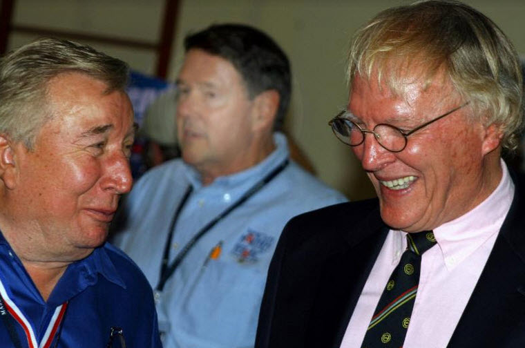 Paul Bryant (left) with Gurney at the 2009 Riverside Reunion shortly before the noted race car designer passed away. Bryant penned the Ti22 and UOP Shadow Can-Am cars as well as the Shelby Series 1 road cars. [Image courtesy of Dave Wolin]