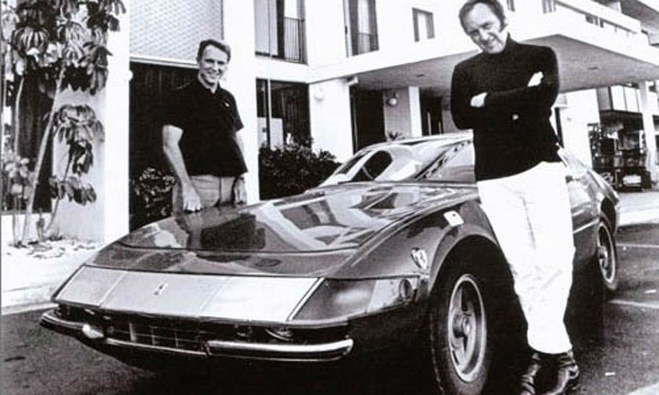 Dan Gurney and Yates flank the Ferrari Daytona Coupe at the Portofino Inn in Redondo Beach, California, the annual terminus of the Cannonball Baker Sea-to-Shining-Sea Memorial Trophy Dash. [Car and Driver image]